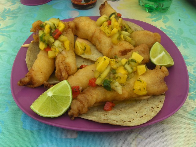 Fish tacos from Lucy's Kitchen in Akumal