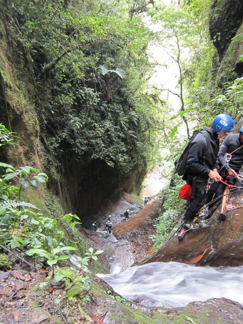 Rappelling in Ecuador